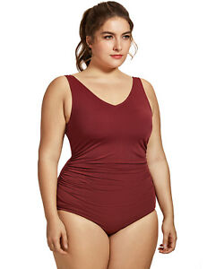 2fa3e25001d Women's One Piece Sport Side Shirred Plus Size Athletic Swimsuit | eBay