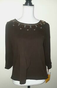 Ruby Rd.embellished scoop neck Woman's Brown 3/4 Sleeve Size L