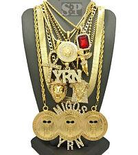 Hip Hop MIGOSYRN,MEDUSA,JESUS,ANKH,ANGEL,RUBY,HERRINGBONE CHAIN 9 Necklace Set
