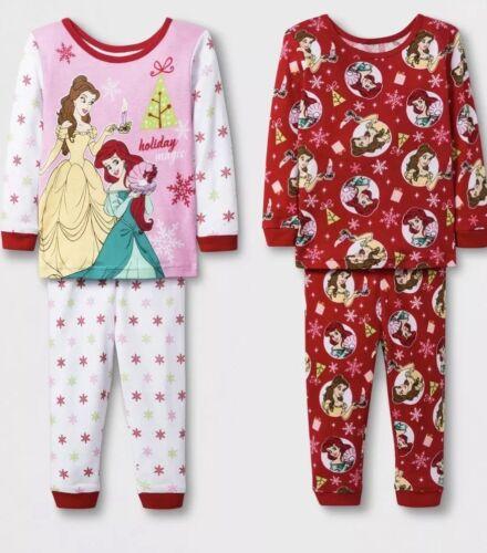 NWT BABY GIRL 4pc DISNEY PRINCESS CHRISTMAS PAJAMA SET SIZE 12 MONTHS