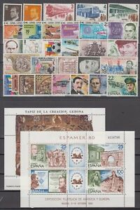 SPAIN-ESPANA-YEAR-1980-COMPLETE-WITH-ALL-THE-STAMPS-MNH-AND-MINISHEETS