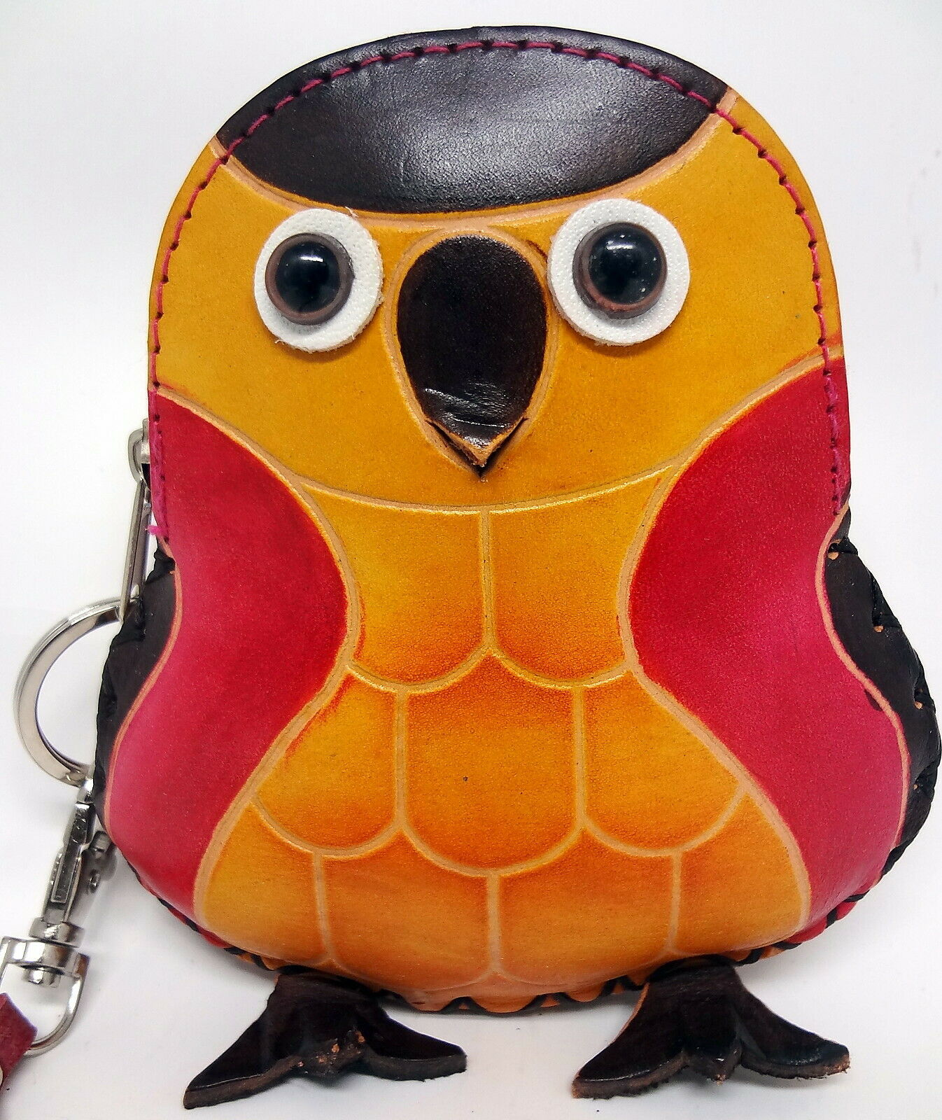 Leather Baby Owl Change Purse Wallet Wristlet Key Ring Googly Eyes Pointy Beak