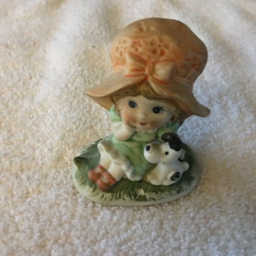 Adorable Vintage Dog Small Figurine Girl 2 34 ""