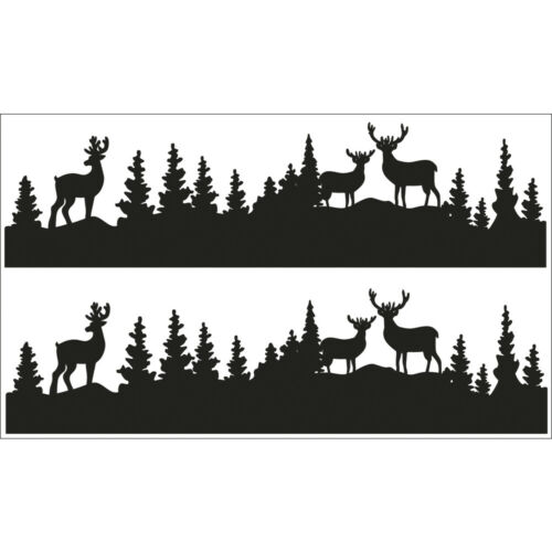2 Silhouetten 2 Bogen Deko-Abziehmotive Waldesruh 17x4cm schwarz