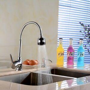 Chrome Brass Kitchen Sink Single Handle One Hole Faucet Sprayer Swivel Mixer Tap