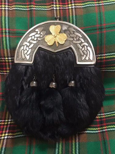 Men's Full Dress kilt Sporran Antique Cantle//kilt sporrans Irish Shamrock Badge