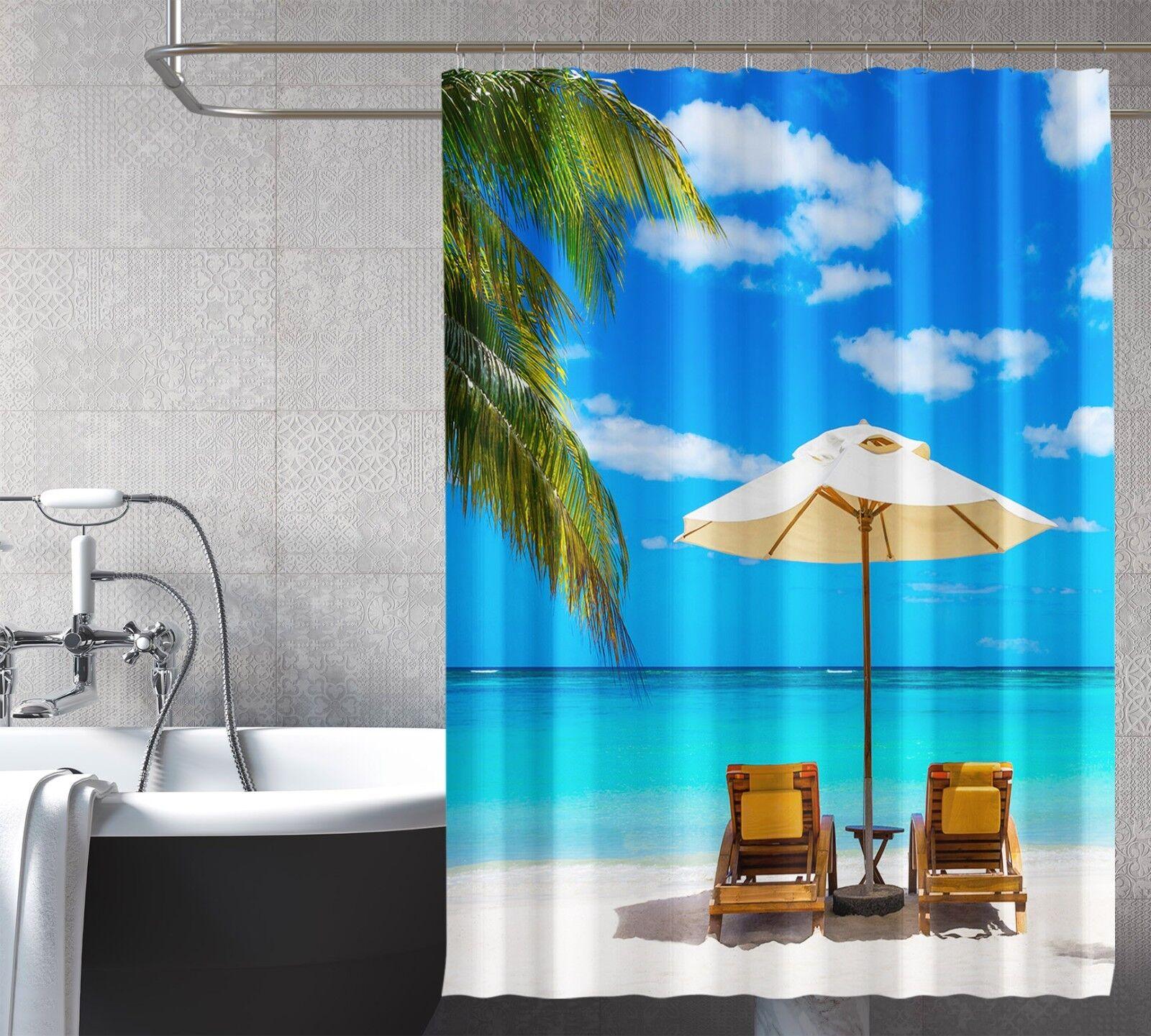 3D Summer Beach 297 Rideau de Douche Imperméable Fibre Salle de Bain Home Windows Toilette