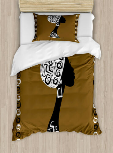 African Woman Duvet Cover Set with Pillow Shams Stylish Female Print