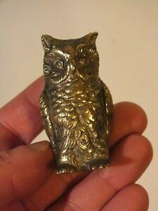 Presse-papier-Hibou-Chouette-en-bronze-argente