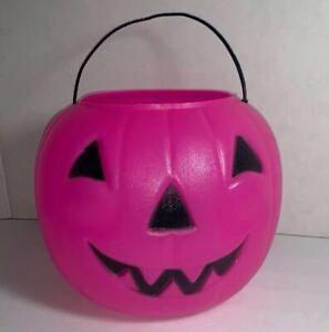 Halloween-Pink-Blow-Mold-Jack-O-Lantern-Pumpkin-Candy-Treat-Bucket-Pail