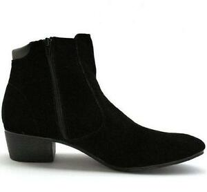 Men-039-s-British-High-Top-Ankle-Boots-Casual-Dress-Cuban-Heel-Zip-Faux-Suede-Shoes