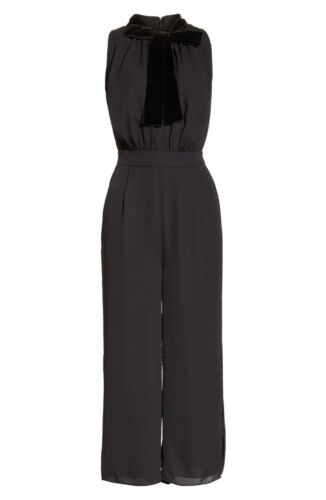Crop Velvet New Neckline Tie Spade 16 Wide Kate Trim Jumpsuit Xl Pants Black Bow qTT1Hnz