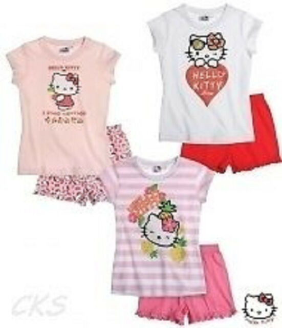 Hello Kitty Shorty-Pyjama, rosa-bunt, weiß-rot, rosa-pink, Gr.104,116,128,140