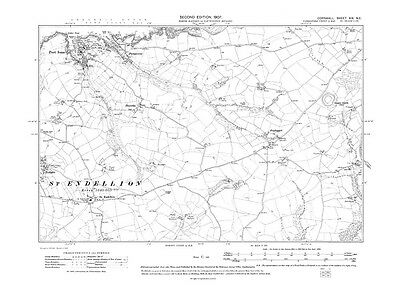 repro 19-NE Old map of Port Isaac Cornwall St Endellion 1908
