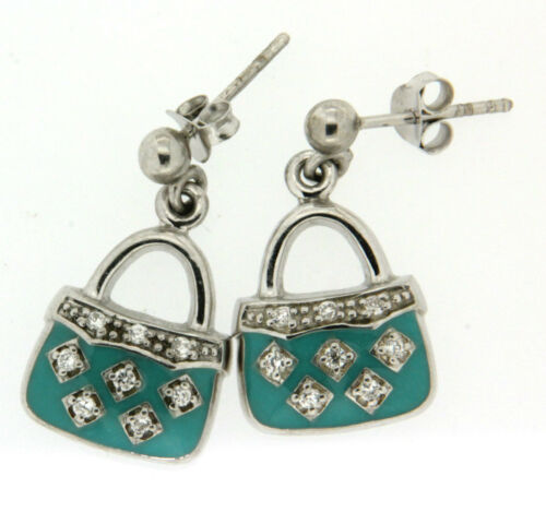 Clear Crystal//CZ and Enamel /'Handbag/' Dropper Earrings Mbody Sterling Silver