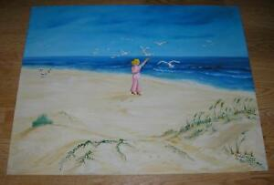NAUTICAL-SEA-SHORE-BEACH-SAND-DUNES-GRASS-SAVES-GIRL-FEEDING-SEAGULLS-PAINTING