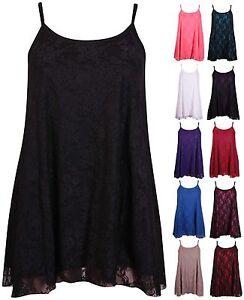 Mujer-Talla-Grande-Encaje-De-Flores-Sin-Mangas-Swing-Camisola-Camiseta-tirantes