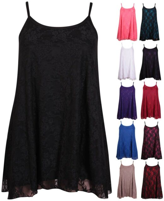 Womens Plus Size Floral Lace Ladies Sleeveless Swing Camisole Strappy Vest Top