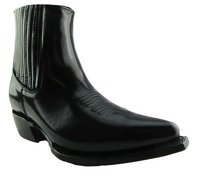2019 Mode Grinders Austin Men Black Leather Ankle Zip Black Boots Block Hell Mit Einem LangjäHrigen Ruf