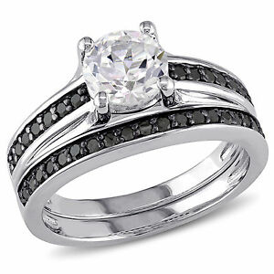 Sterling-Silver-White-Sapphire-and-1-3-Ct-TDW-Black-Diamond-Bridal-Ring-Set