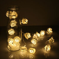 20 LED Rose Flower Warm White Fairy String Light Xmas Party Battery Operated UR