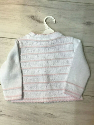 Baby Girl Spanish Traditional White Round Knit Cardigan with Pink Stripe