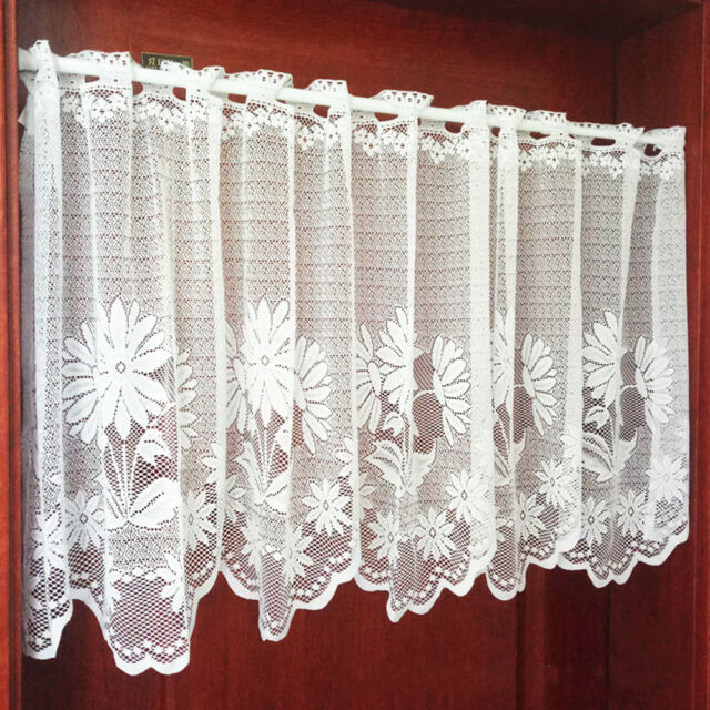 Miraculous Embroidery Floral Kitchen Cafe Curtain Lace Valance Window Sheer Voile Panel Home Interior And Landscaping Palasignezvosmurscom