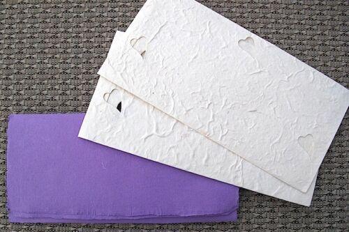 Umschlag DIN lang Herz weiß ProNa Handmade exclusiv Briefbogen