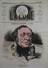 AVOCAT ERNEST PICARD CARICATURE de GILL JOURNAL SATIRIQUE LA LUNE 1867