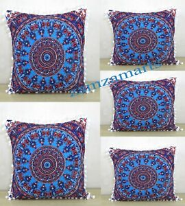 Details About 5 Pcs Set Of 16 Square Cushion Covers Pillow Cover Indian Room Decorative Throw