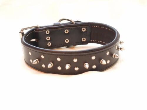 Deluxe Chunky Black leather dog collar with spikes