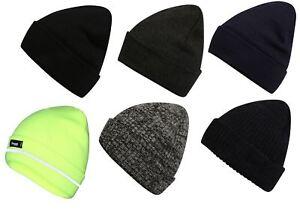 Mens-Pro-Climate-Genuine-Thinsulate-Knitted-Beanie-Hat-Plain-High-Viz-Or-Marl