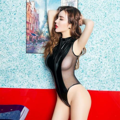 Damen Body Wetlook Lack Leder Unterwäsche Bodysuit Body Jumpsuit Reizwäsche