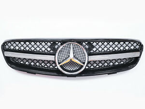 Front-Grill-Conversion-For-Mercedes-Benz-W209-CLK-1-Fin-Sport-Mesh-Grill-Star