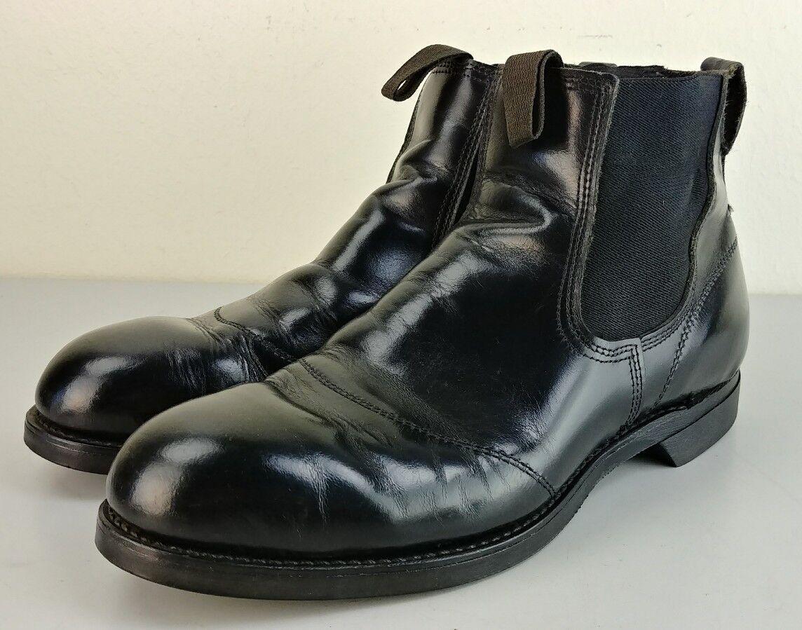 Vintage para hombres Cuero Negro Puntera De Acero botas Media Slip-on biltrite Soles 10 E