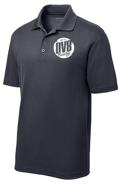 DV8 Men's Enforcer Performance Polo Bowling Shirt Dri-Fit Graphite Grey