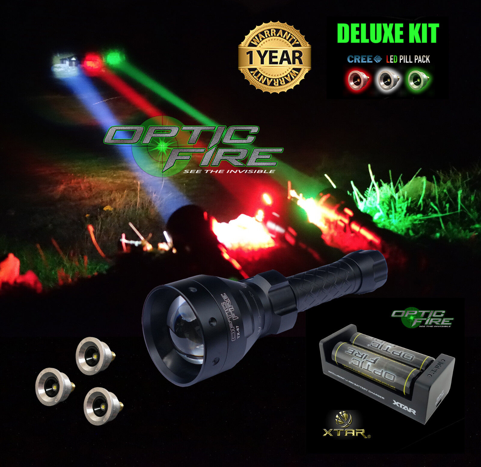 Opticfire® TX-67 T67 LED Deluxe Supreme hunting torch gun light lamp lamping kit
