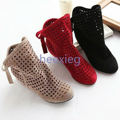 Ladies Hidden Heel Faux Suede Cut Out Summer Ankle Boots Sandals Shoes Plus Size