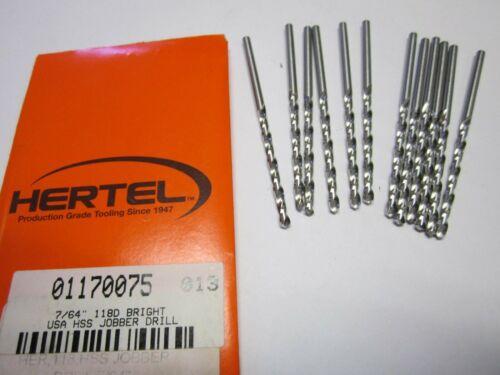 "Lot of 12 7//64/"" High Speed Jobber Length Drill Bits 118 Degree Bright"