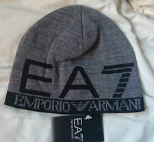 BNWT EA7 GREY/BLACK BEANIE HAT SIZE MEDIUM