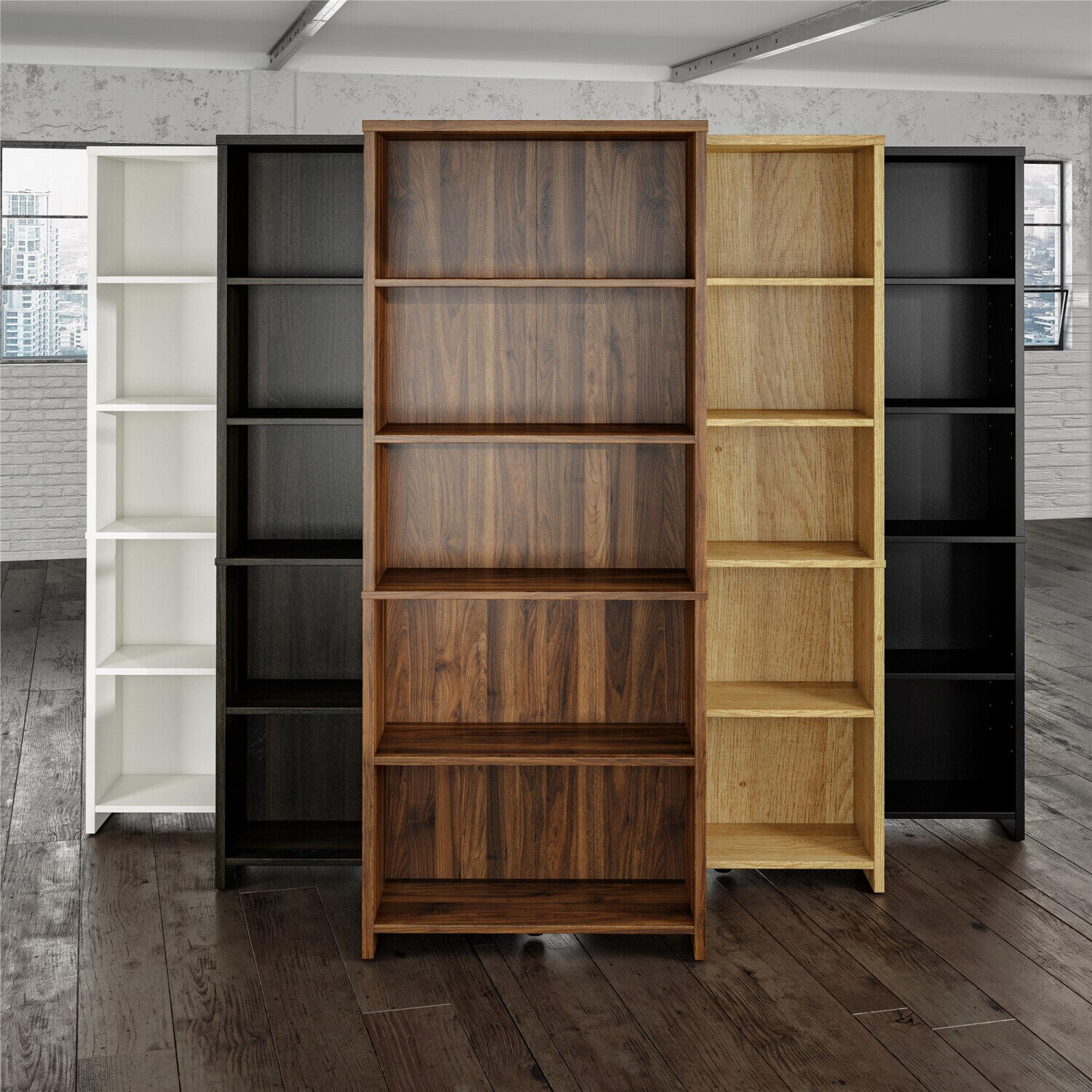 72 Inch Tall 5 Shelf Bookcase Closed Bookshelf Storage Adjustable Shelves Wood