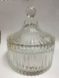 Glass-Glassware-Candy-Jag-Bowl-Round-with-lid-15cm