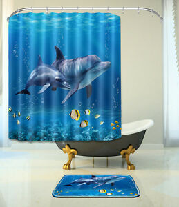 Image Is Loading Dolphin Undersea Shower Curtain Bathroom Mat Set  Waterproof
