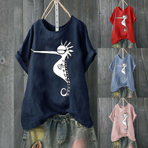 Women Casual Cotton Linen Seahorse Print Loose Top Summer Shirt Blouse LIU9