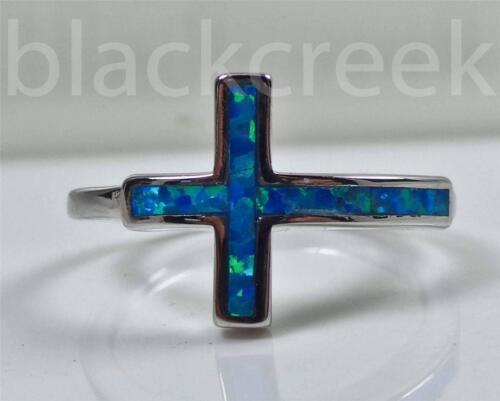 925 Sterling Silver ~ Sideways Cross Blue Opal Ring ~Size 5~6~7~8~9~10~