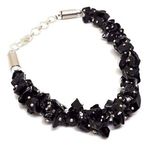Black-Tourmaline-Gem-Chip-Bracelet-Large-Clasped-Gemstone-Protective-Jewellery