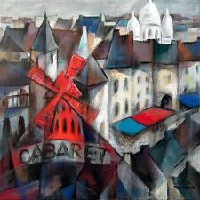JZ Art Déco-Paris-Moulin Rouge-Tableau original Peinture mixte sur toile Cubisme