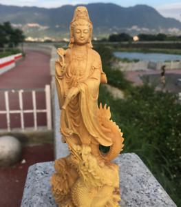 Chinese-Boxwood-Wood-Carving-Guan-Yin-Ride-Dragon-Goddess-Bodhisattva-Statue