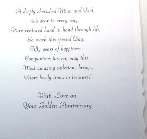 Golden Anniversary souhaite un Spécial Maman et Papa PRETTY 50th Anniversaire Carte