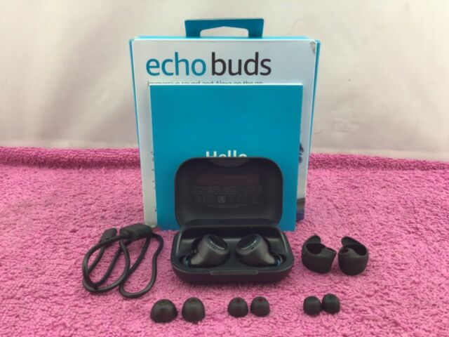 Amazon Echo Buds (1st Gen) w/ Charging Case: Hands Free w/ Alexa, Black — Used